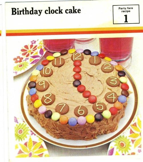 Birthday clock cake recipe card the vintage cookbook trials clockcake forumfinder Gallery