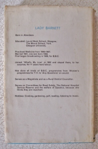 Lady Barnett's Cookbook back cover CV