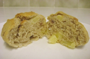 split apple muffin
